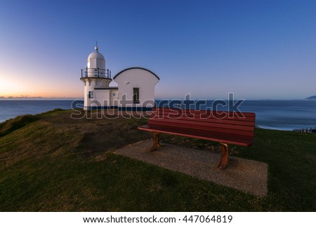 Early morning before sunrise with clear sky at the Tacking Point Lighthouse Port Macquarie, NSW, Australia