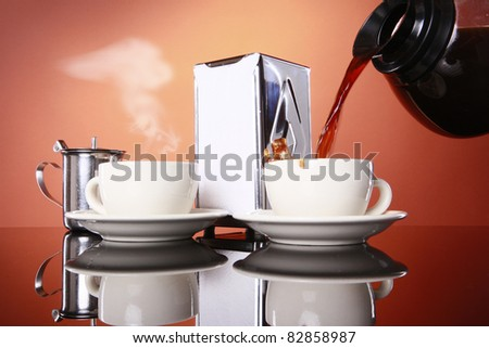 Early morning coffee cups being served - stock photo