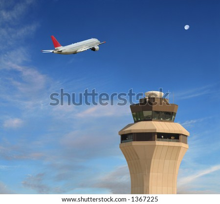 Early morning flight takes to the sky - stock photo
