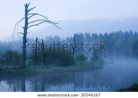 Early Morning. Fog under river - stock photo