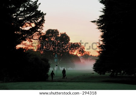 Early Morning Golf - stock photo