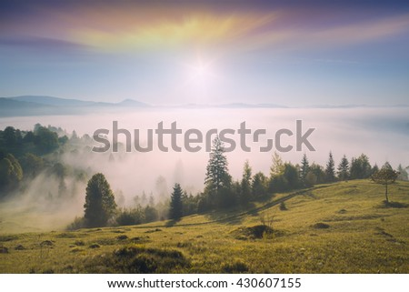 Early morning in a misty Carpathian mountain valley with beautiful moving clouds in a sky - stock photo