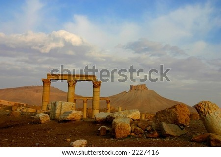 early morning in ancient palmyra in syria