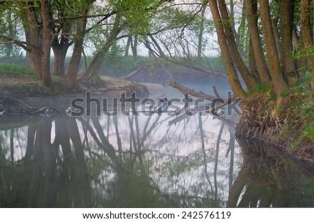 Early morning in spring. River Sukhodrev, Kaluga region, Russia - stock photo