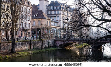 Early morning in Strasbourg city center in autumn, Alsace, France