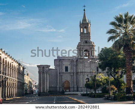 Early morning in the city Arequipa in southern Peru and Volcano El Misti overlooks  - stock photo