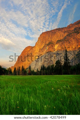 Early morning in Yosemite National Park - stock photo