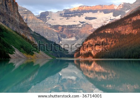 Early Morning Lake Louise, Alberta, Canada Horizontal - stock photo