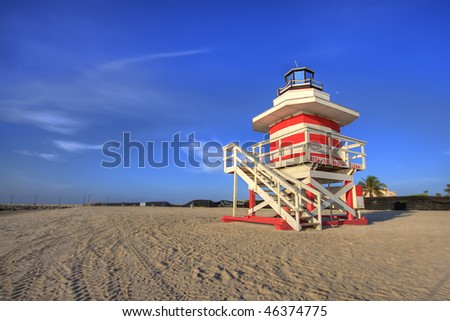 Early morning lifeguard tower on South Beach, Miami. - stock photo