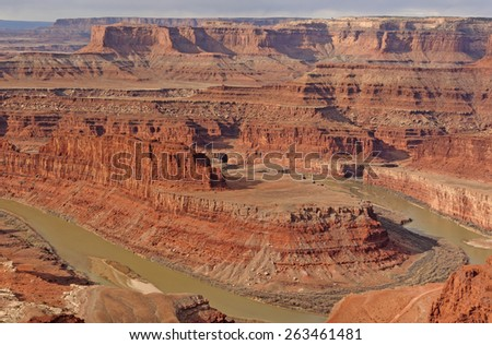 Early Morning Light at Dead Horse Point on the Colorado River in Utah - stock photo