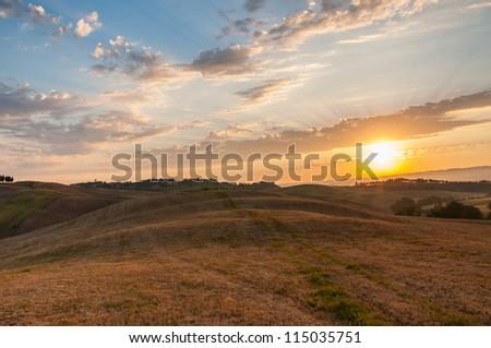Early morning light in the Tuscany region of Italy - stock photo