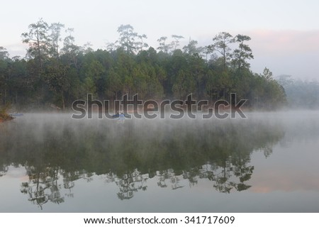 Early morning mist floating over the water at Watchan Royal Project, Chiang Mai (Thailand)
