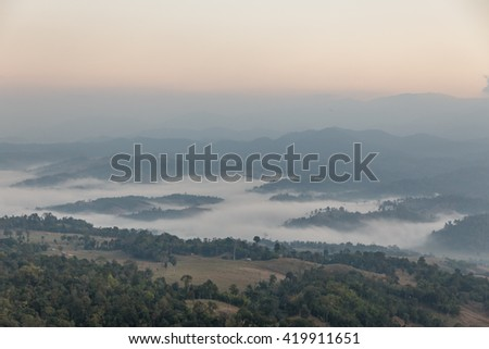 Early Morning Mountain Landscape with Fog at Umphang. Mae Hong Son Province, Thailand