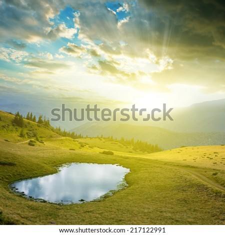 early morning mountain scene - stock photo