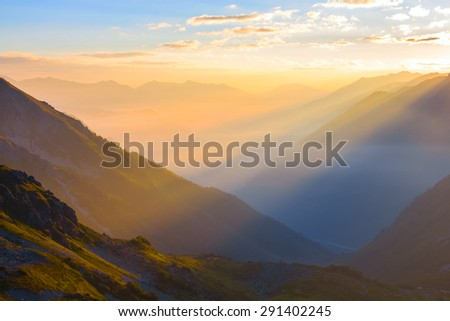 early morning mountain valley - stock photo