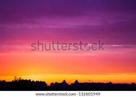 early morning multicolored summer  sunrise in Kiev, Ukraine - stock photo