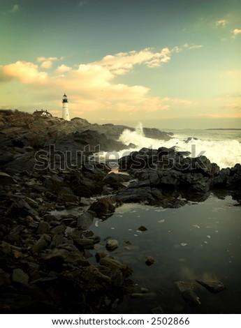 Early morning on Atlantic coast - stock photo