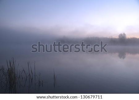 Early Morning On Bronson Lake - stock photo