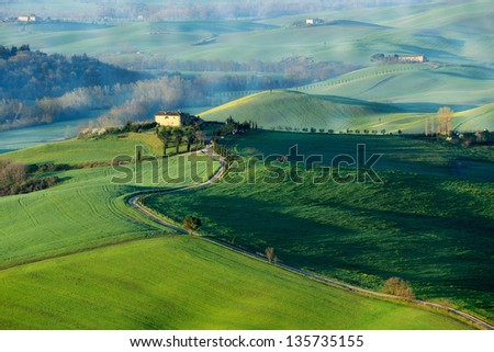 Early morning on countryside in Tuscany - stock photo