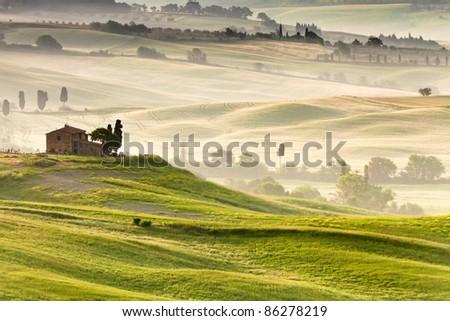 Early morning on countryside near Pienza, Tuscany, Italy - stock photo