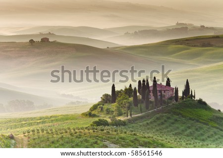 Early morning on countryside, San Quirico d´Orcia, Tuscany, Italy - stock photo