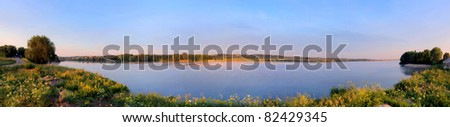 Early morning on Oka river in Russia - stock photo