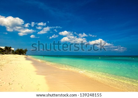 Early morning on seven mile beach - stock photo