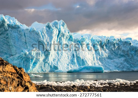 Early morning on the glacier Perito Moreno, Argentina - stock photo