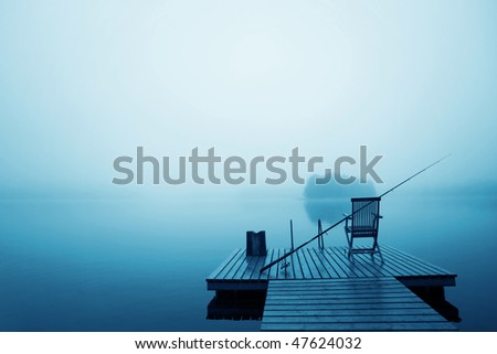 Early morning on the lake - stock photo
