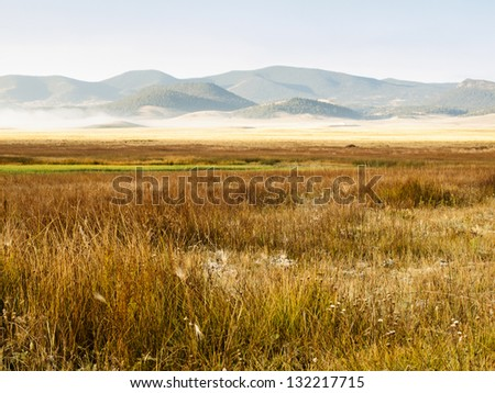 Early morning on the prairie in late Autumn. - stock photo