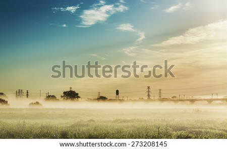 Early morning on the Trinity River with the mist and fog rolling through Dallas Texas - stock photo
