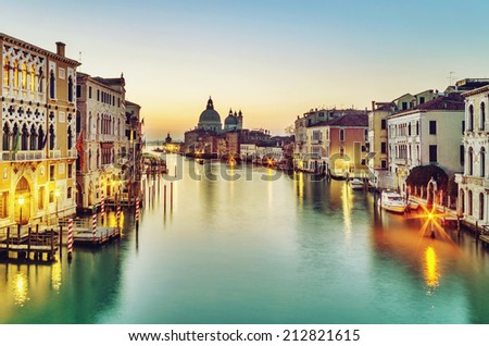 Early morning over Grand Canal in Venice, Italy - stock photo