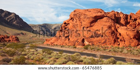 Early morning panorama in the Valley of Fire, Nevada. - stock photo