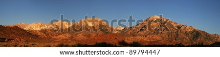 early morning panorama of the Sierra Nevada Mountains west of Bishop, California - stock photo