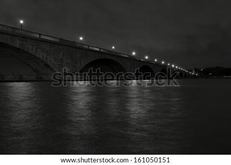 Early morning photo of bridge over Potomac river - stock photo