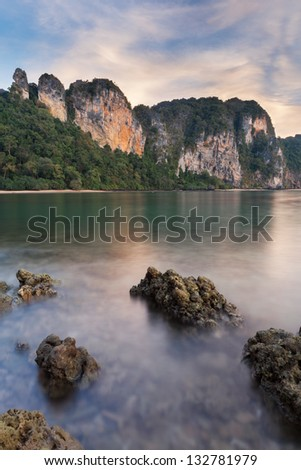 Early morning picture of pinnacles at Railay beach, Thailand. - stock photo