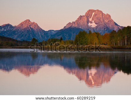 Early morning reflection of Mt. Moran at Oxbow Bend in Grand Tetons National Park.