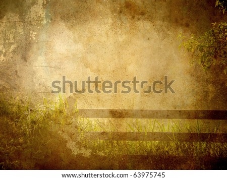 Early morning rural view of a fence and meadow with copy space. Grunge textured. - stock photo