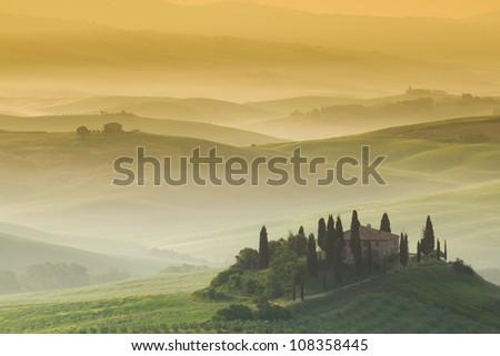 Early morning, San Quirico d�´Orcia, Tuscany, Italy - stock photo
