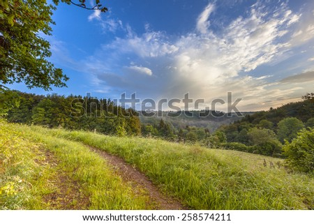 Early morning scene in the German hills of the Eifel area near Blankenheim - stock photo