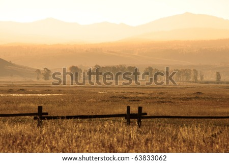 Early morning scene of beautiful landscape in yellow stone national park - stock photo