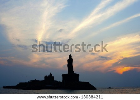 Early morning silhouette scene of Kanyakumari, the southernmost point of India