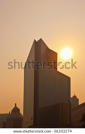 Early morning smog Shanghai's business district - stock photo
