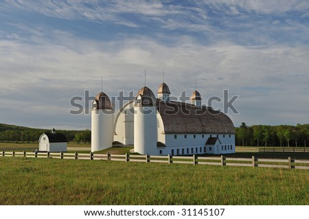 Early morning spring landscape of restored barn on the historic D. H. Day farmstead, Sleeping Bear Dunes National Lakeshore, Michigan, USA