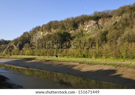 Early morning sun & low water in Avon Gorge, Bristol - stock photo