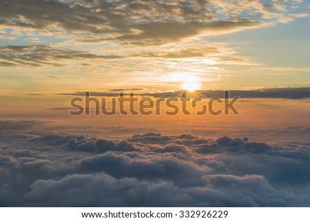 Early Morning Sunrise Over The Sea of Mist. - stock photo