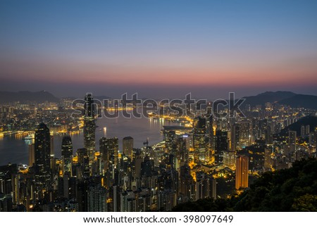 Early Morning Time at The Victoria Peak , Hong Kong City Light , Sun Rise