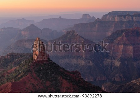 Early morning view from  the Point Imperial overlook in Grand Canyon National Park , Arizona  USA - stock photo
