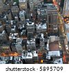 Early morning view of buildings from above in New York City. - stock photo