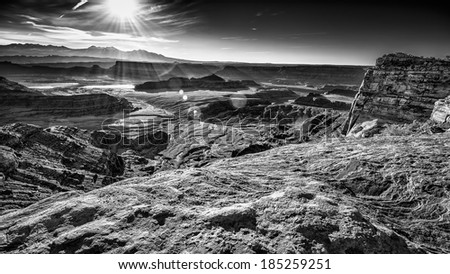 Early morning view of Dead Horse Canyon in Utah - stock photo